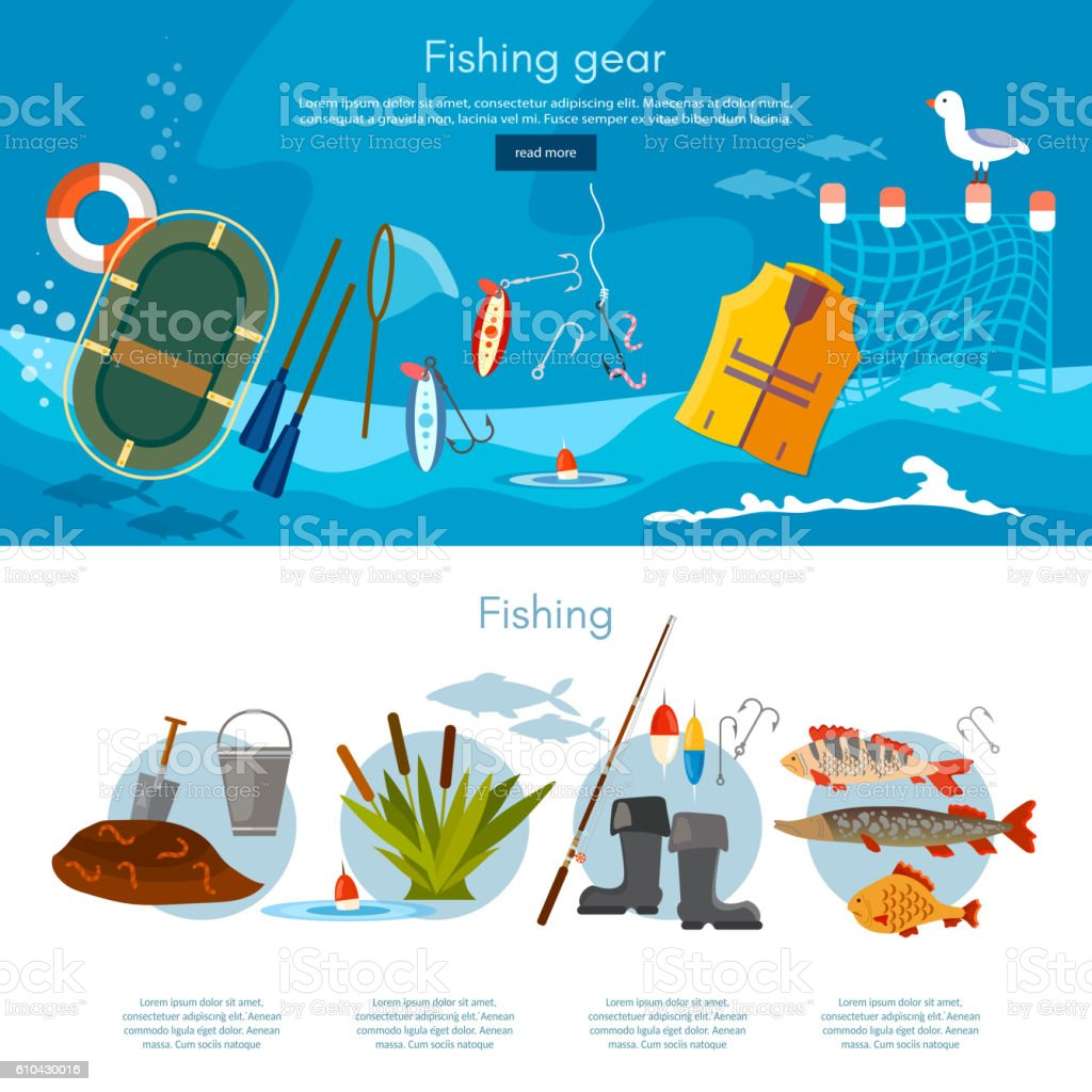 Professional fishing banners vector art illustration