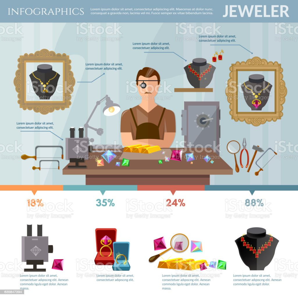 Professional jeweler infographics vector art illustration