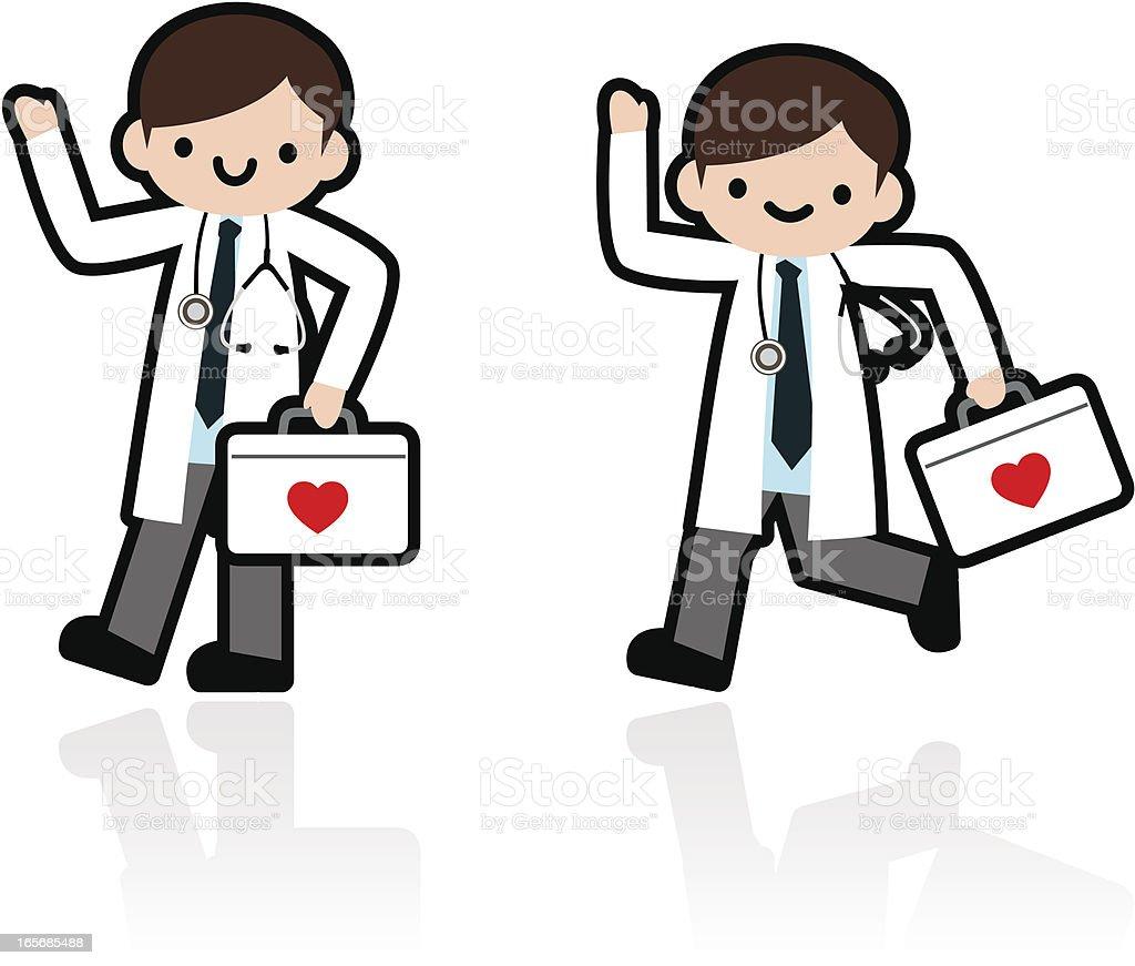 Professional Kindly Doctor Walking, Running vector art illustration