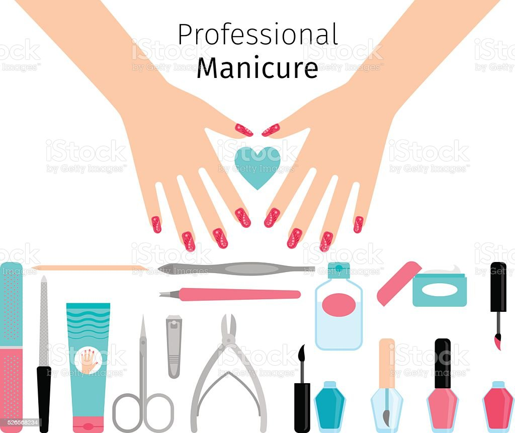 Professional manicure poster in flat style vector art illustration