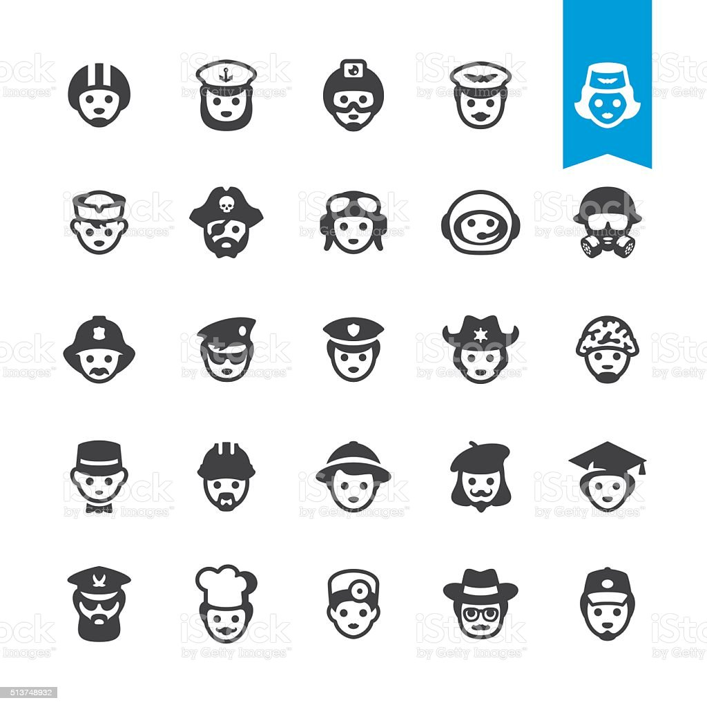 Professional occupations in hats - vector characters vector art illustration