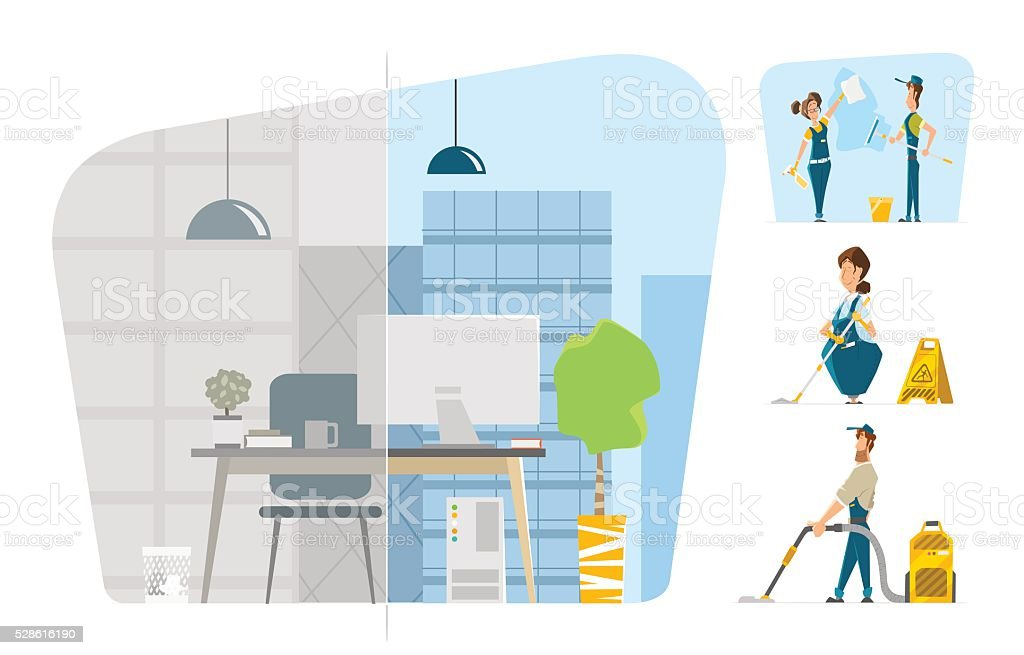 Professional office cleaning service Vector character illustration set vector art illustration