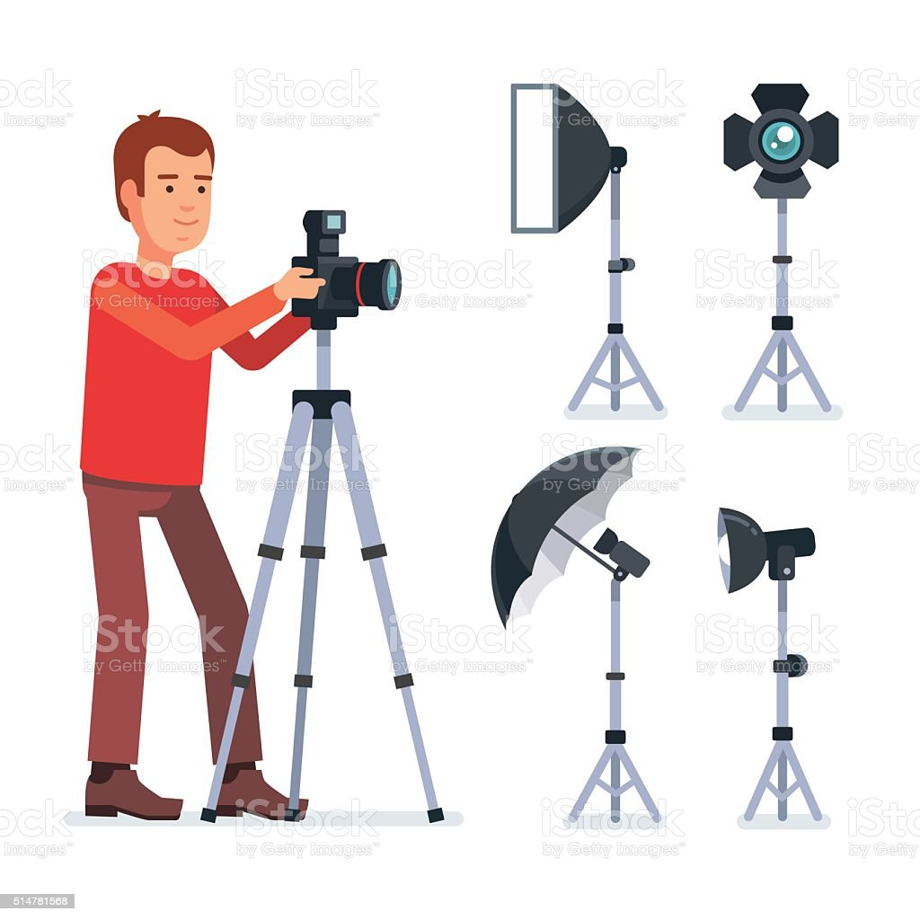 Professional photographer with camera vector art illustration