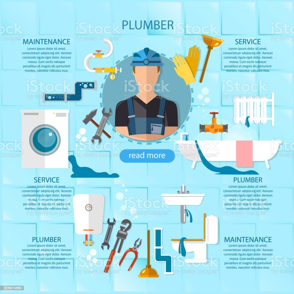 Bathtub  Cooking  Taking a Bath  Working  Adjustable Wrench  Professional  plumber infographic plumbing service. Professional Plumber Infographic Plumbing Service stock vector art