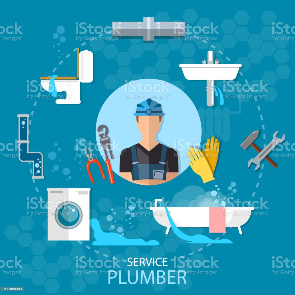 Professional plumber plumbing repair service different tools vector art illustration
