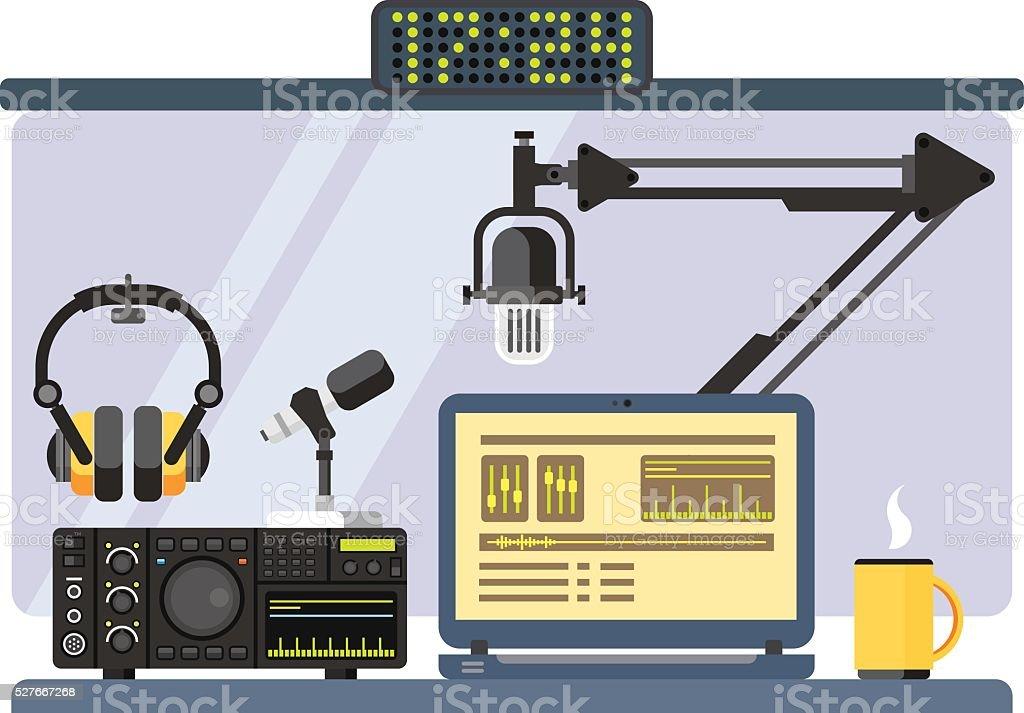 Professional radio station studio vector art illustration