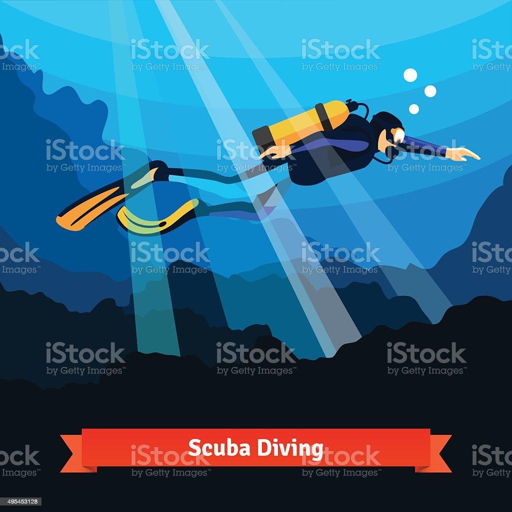 Professional scuba diver man underwater vector art illustration