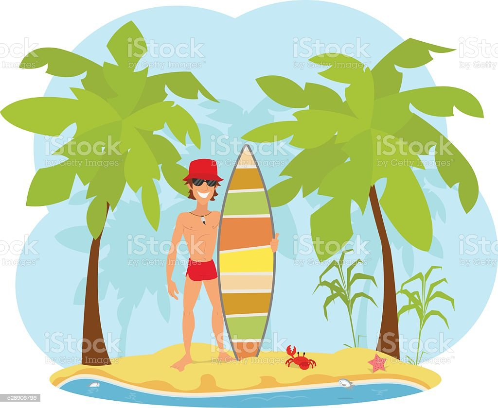 Professional Surfer holding a Surf Board vector art illustration
