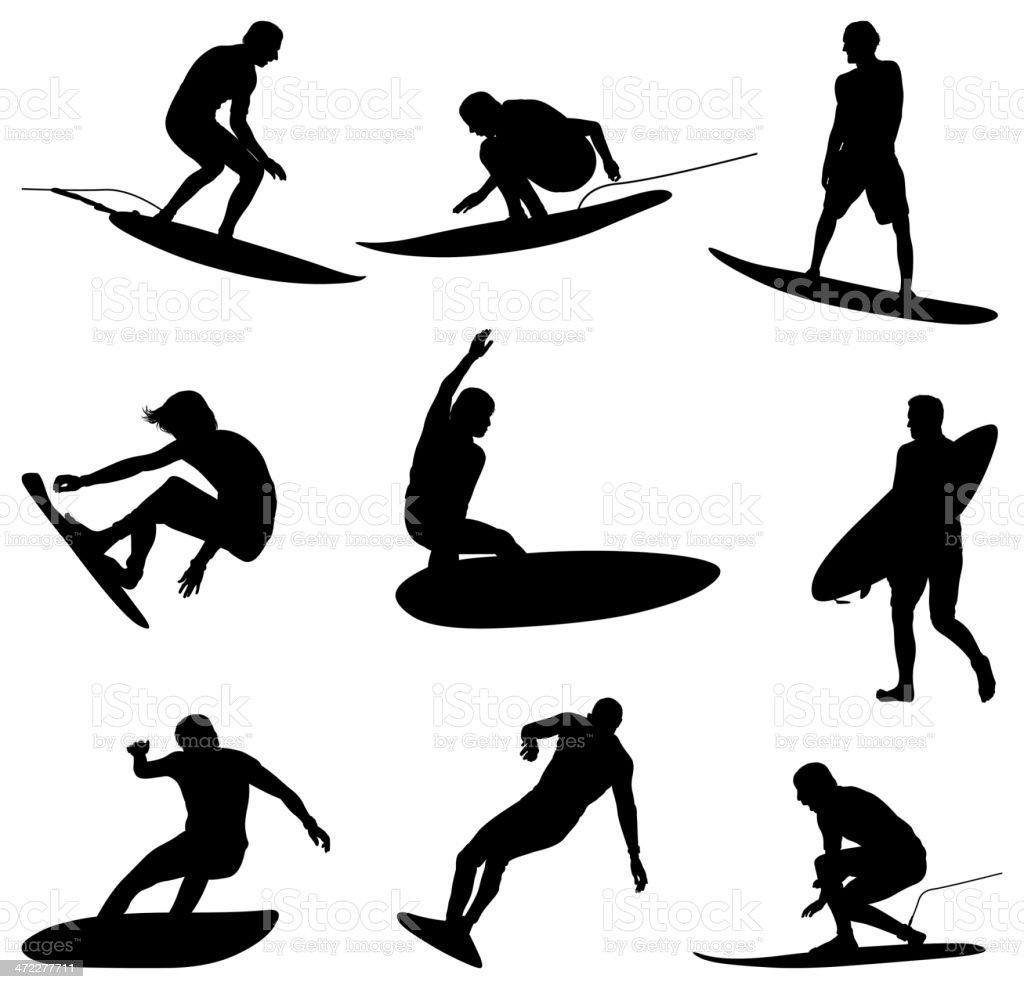 Professional surfers shredding waves vector art illustration