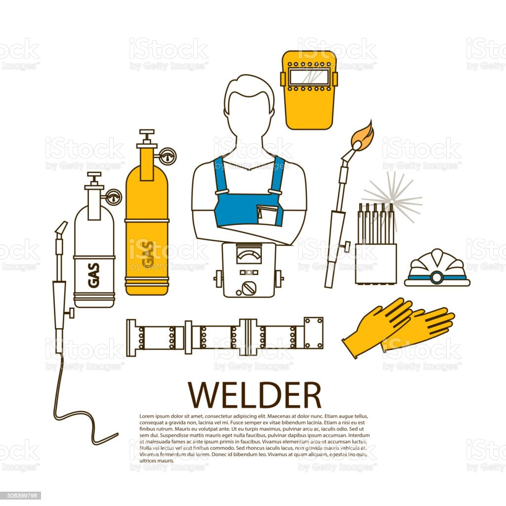 Professional welder welding tools and equipment silhouette vector art illustration
