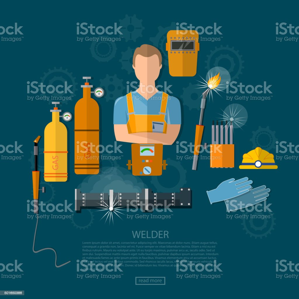 Professional welder welding tools and equipment vector art illustration