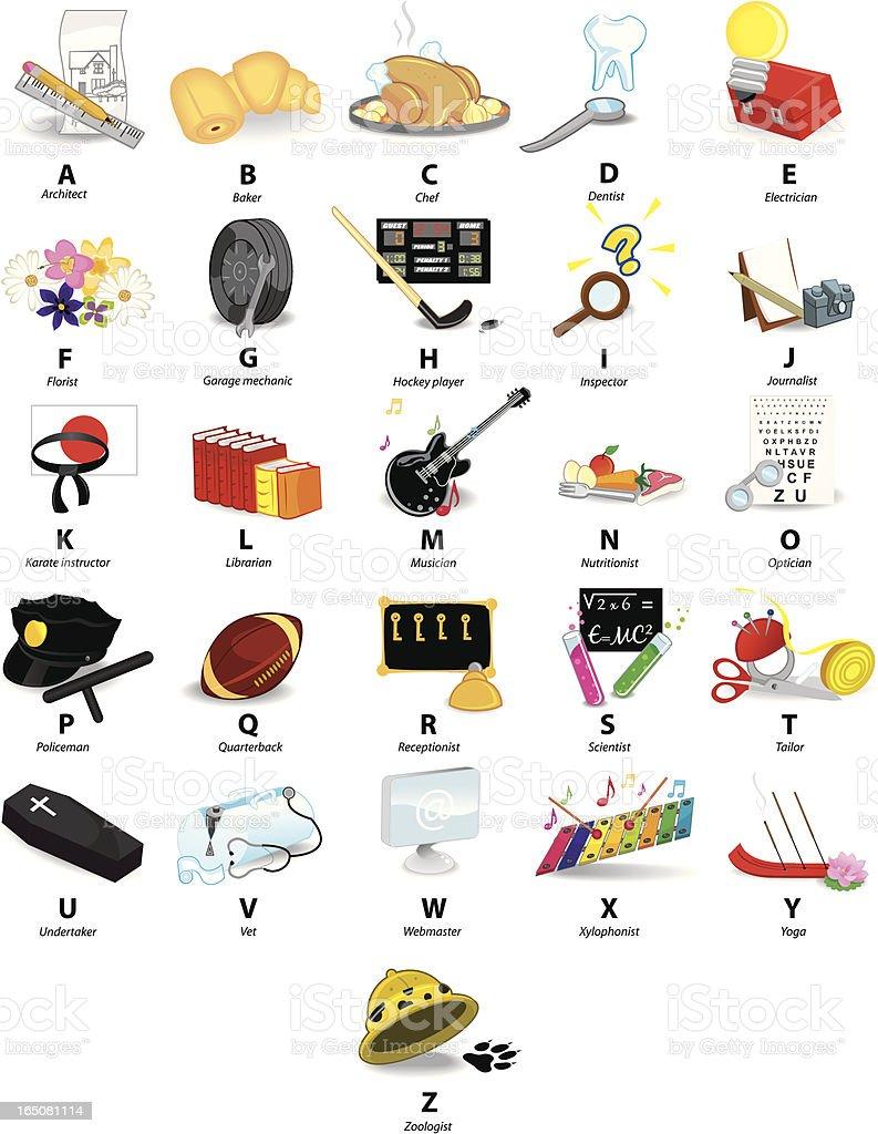 professions alphabet royalty-free stock vector art