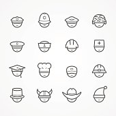 Professions and people vector line icons