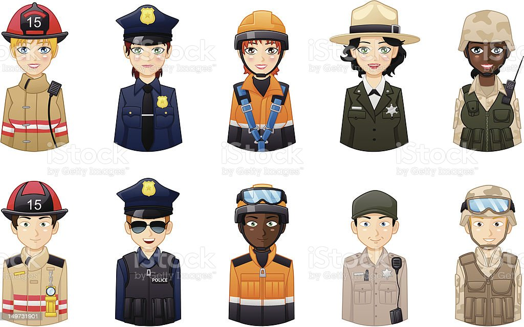 Professions avatars set 1 vector art illustration