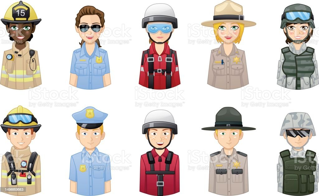 Professions avatars set 2 vector art illustration