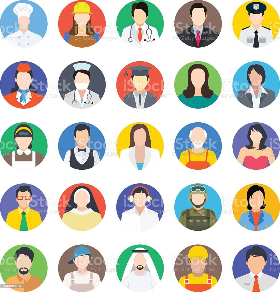 Professions Colored Vector Icons 1 vector art illustration