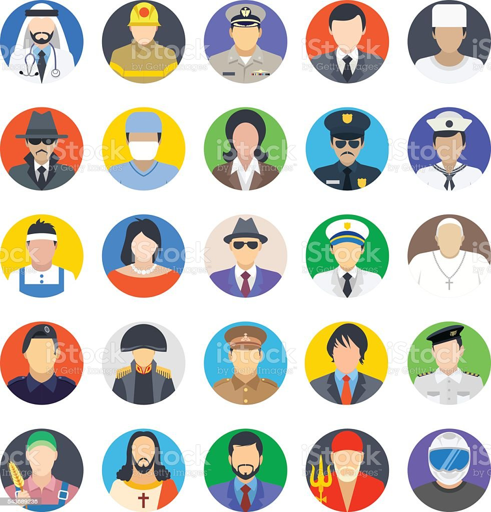 Professions Colored Vector Icons 2 vector art illustration