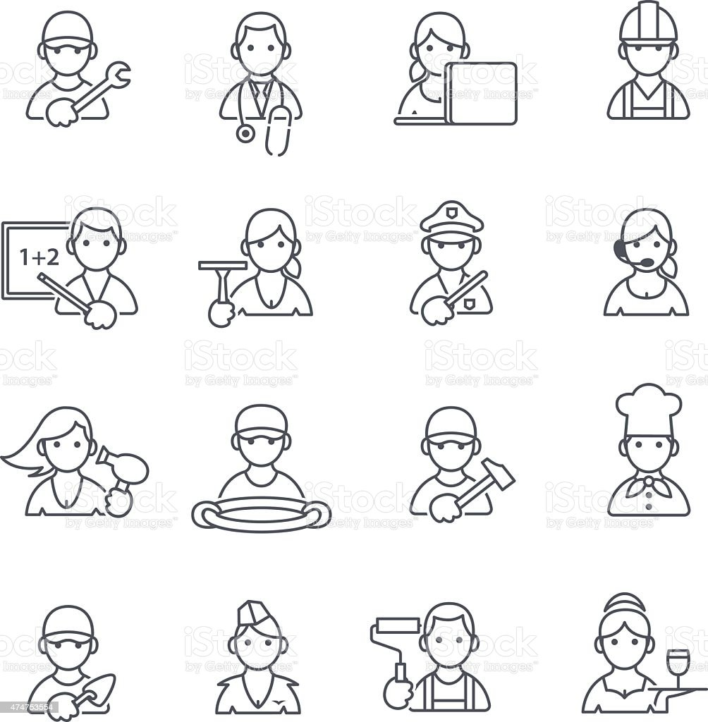 Professions icons thin line. vector art illustration