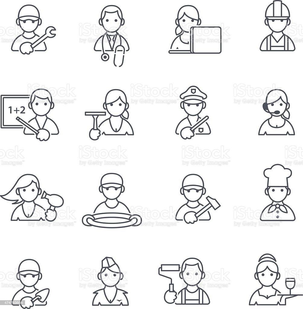 Professions icons thin line. vector art illustration