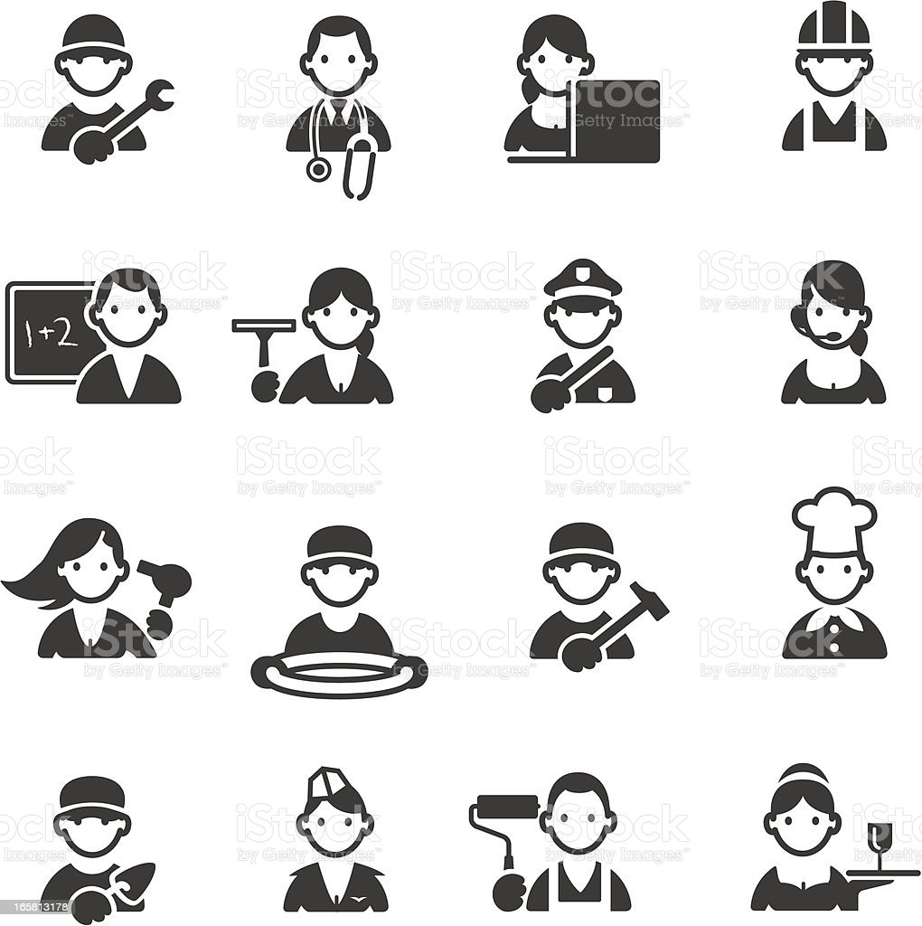 Professions icons vector art illustration