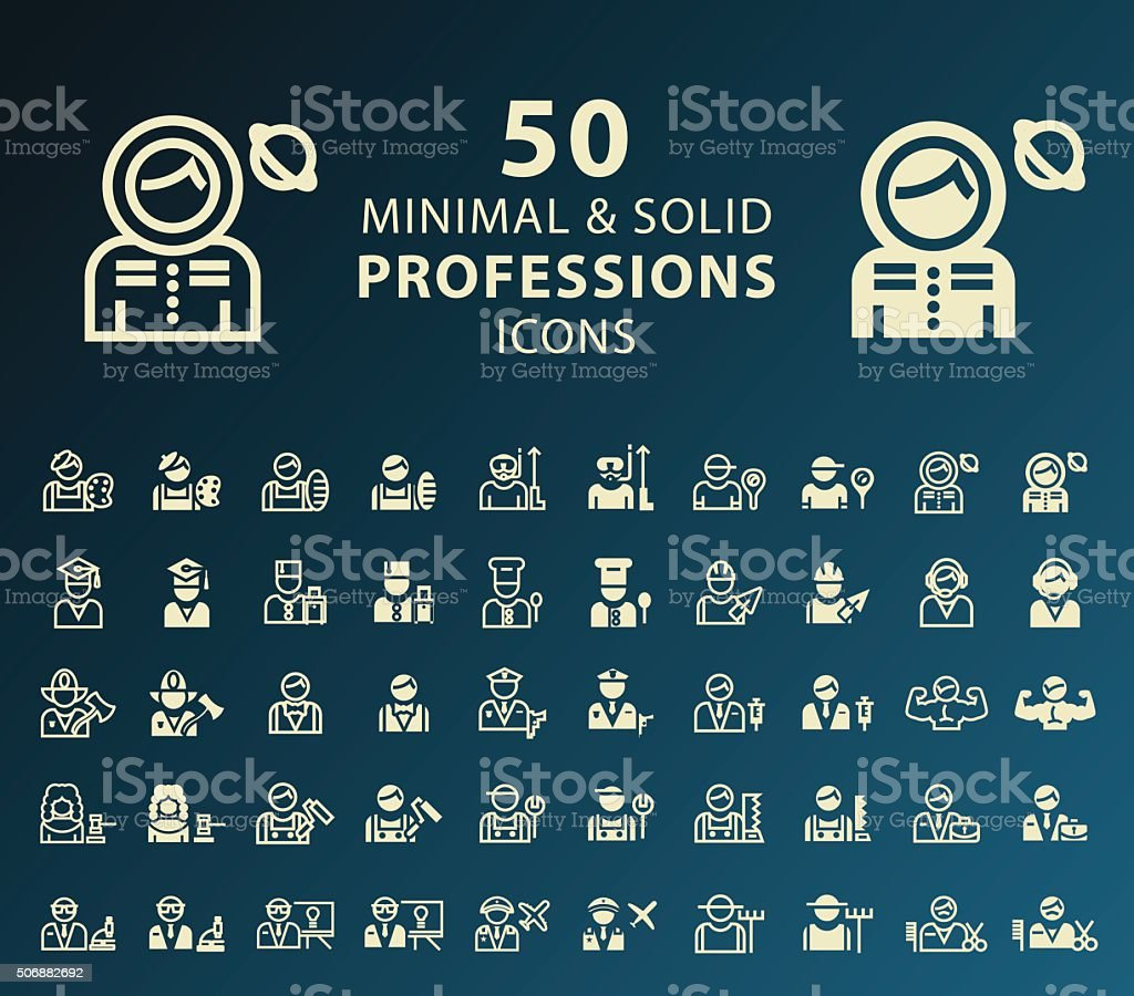 Professions Icons. vector art illustration