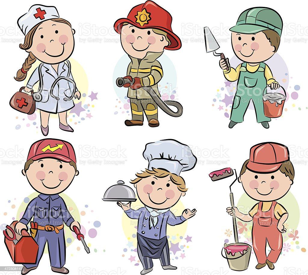 Professions kids set 3 vector art illustration