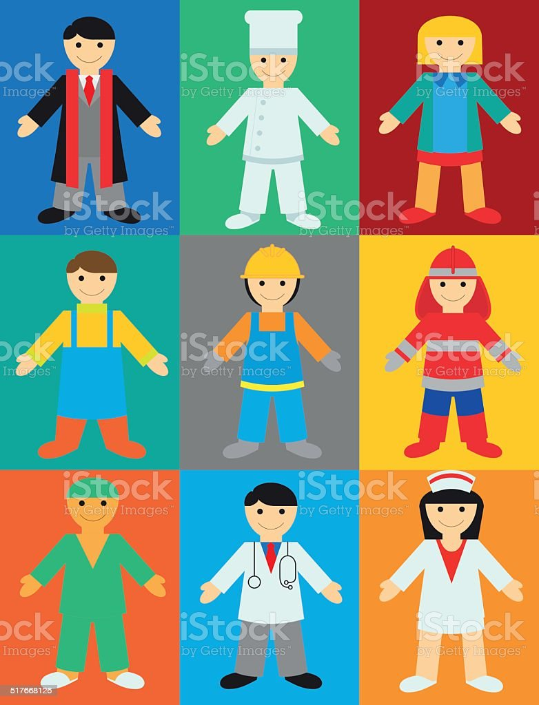 Professions on Color Background. vector art illustration