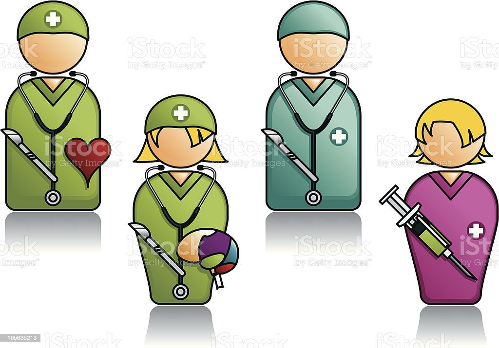Professions Series with Various Medical People royalty-free stock vector art
