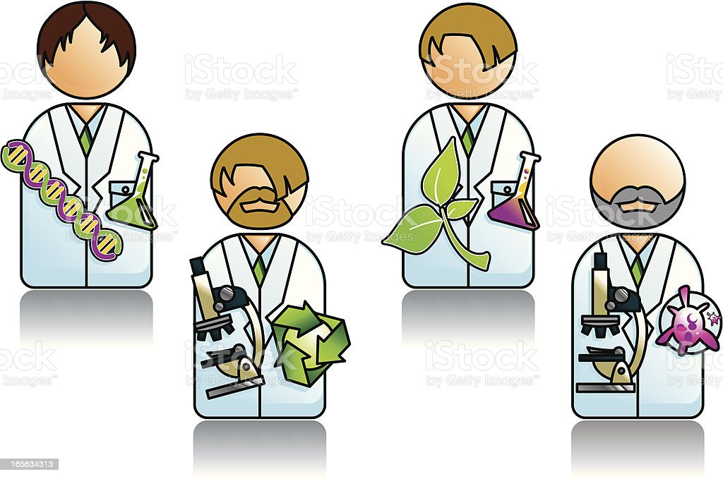 Professions Series with Various Scientists royalty-free stock vector art