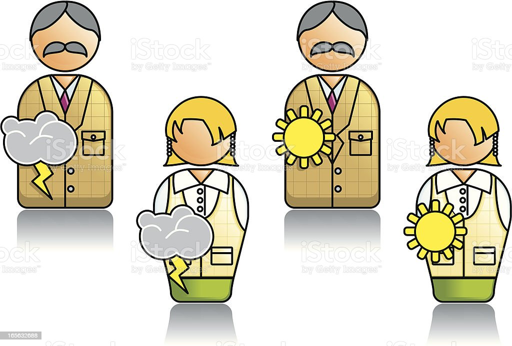 Professions Series with Weatherman and Weather Girl Symbols 01 vector art illustration