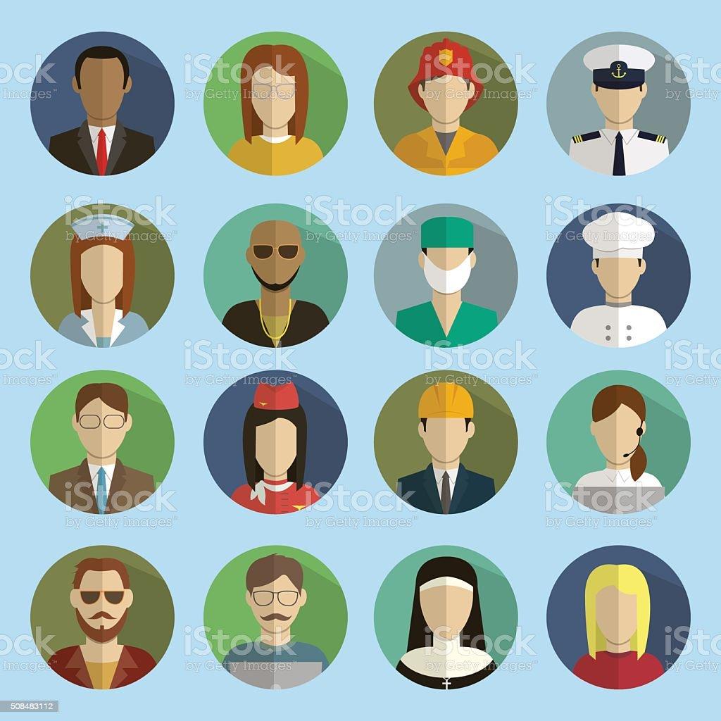 Professions Vector Flat Icons. Signs, symbols set royalty-free stock vector art