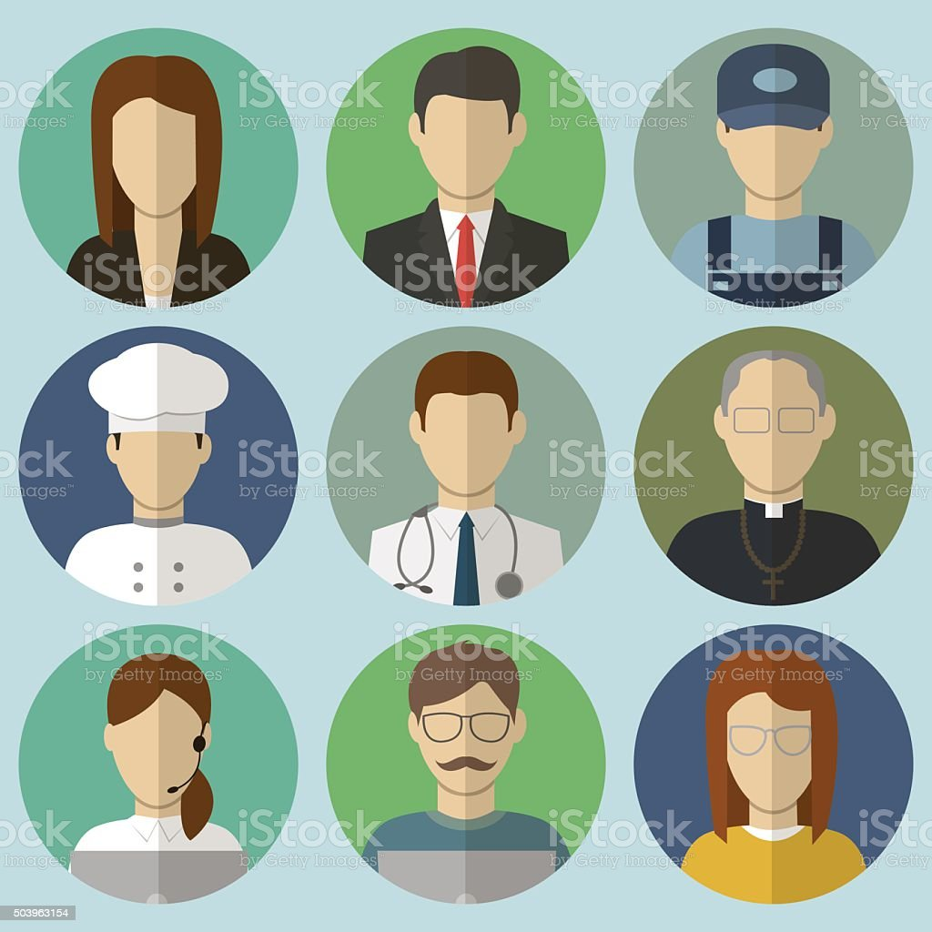 Professions Vector Flat Icons. vector art illustration