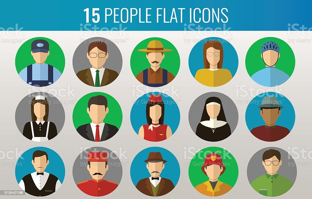 Professions Vector Flat Icons royalty-free stock vector art
