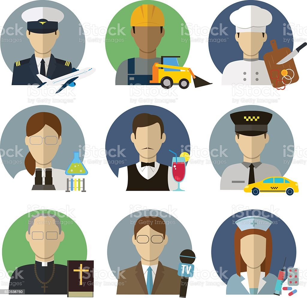 Professions Vector Flat Icons. royalty-free stock vector art