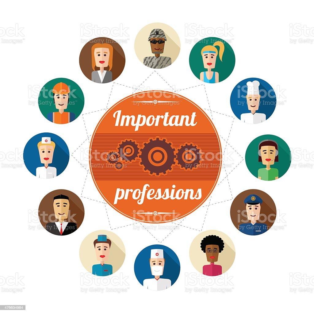 Professions vector art illustration