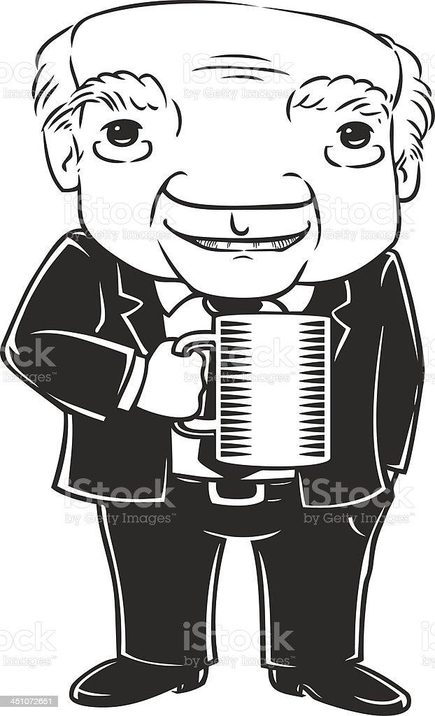 Professor Enjoying Coffee royalty-free stock vector art