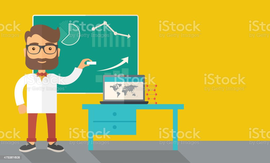 Professor holding a chalk vector art illustration