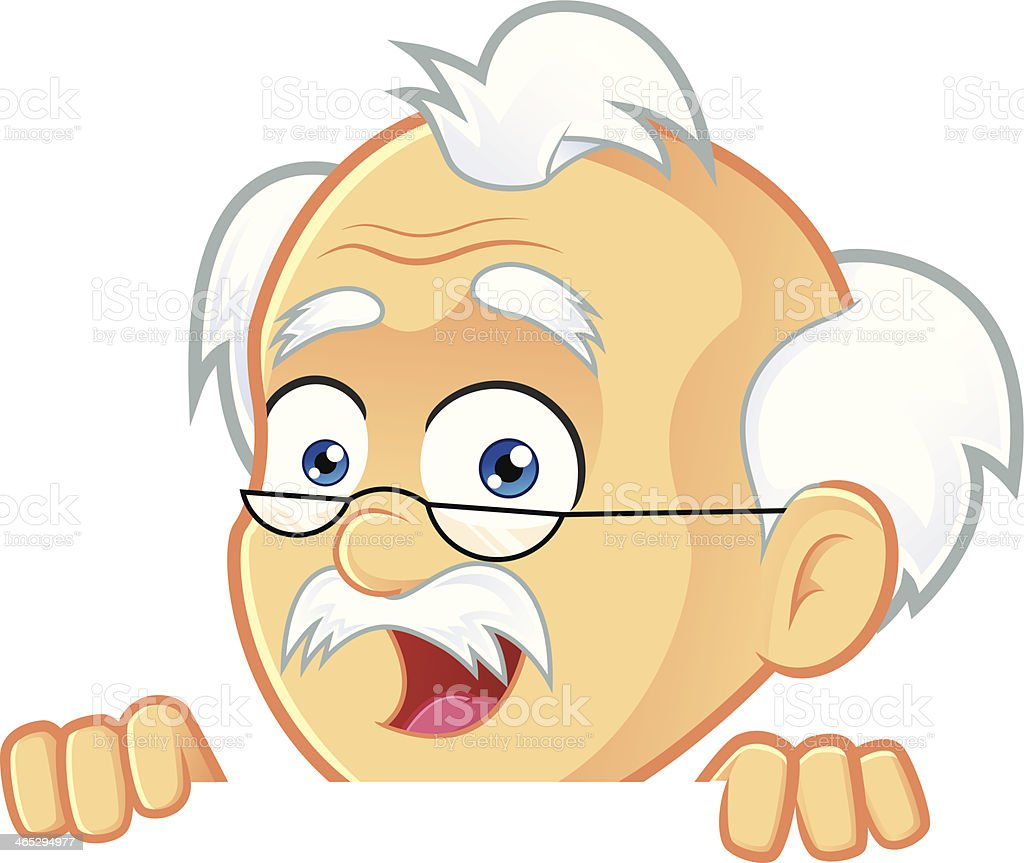 Professor Holding and Looking Over a Blank Sign Board royalty-free stock vector art