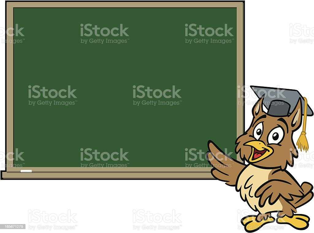 Professor Owl at Blackboard royalty-free stock vector art