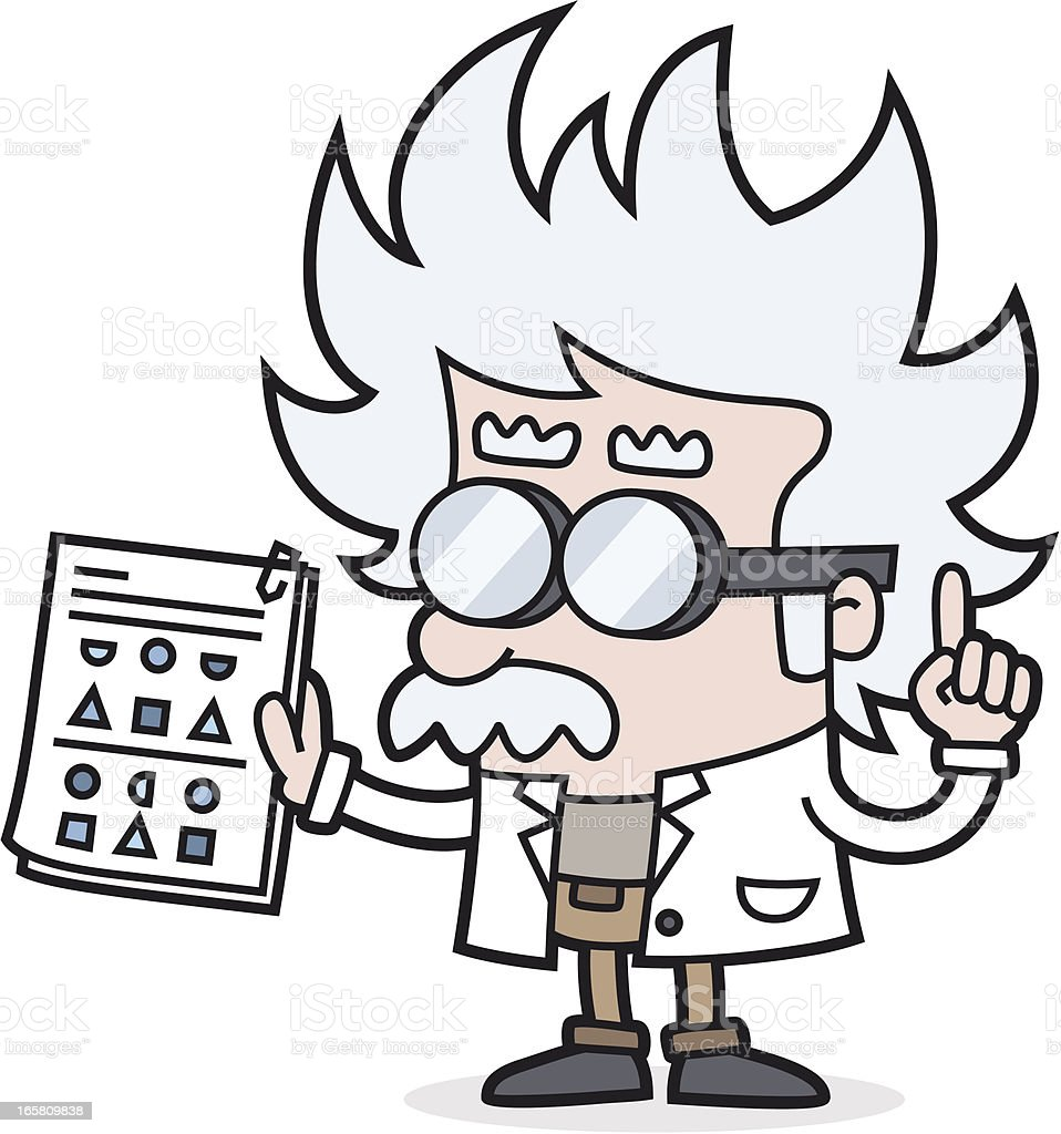 professor with test - IQ royalty-free stock vector art