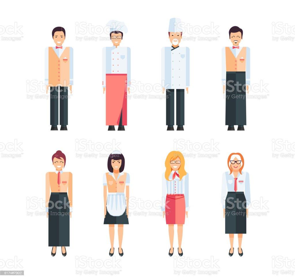 Proffesional restaurant staff vector art illustration