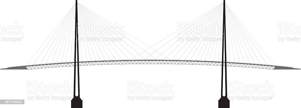profile cable-stayed bridge vector art illustration