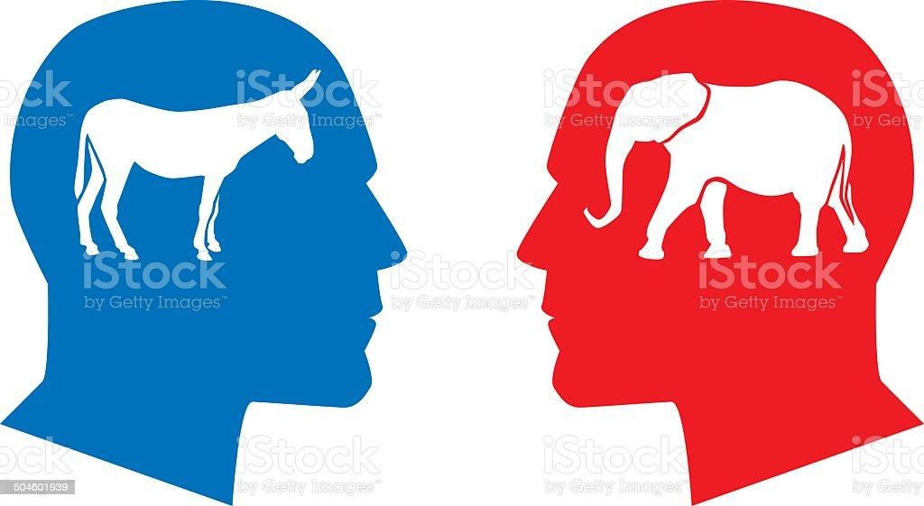 Profile Democrat Republican vector art illustration