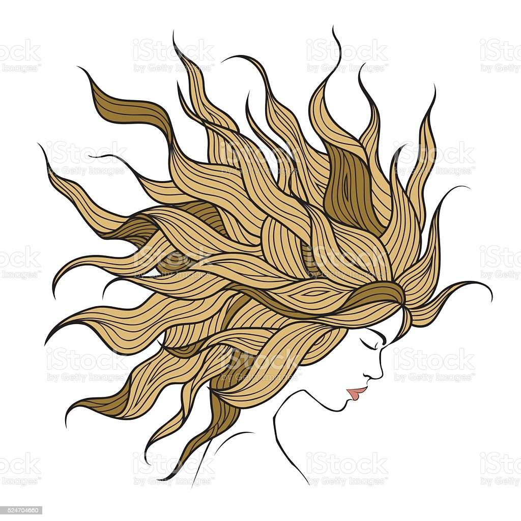 Profile of a beautiful girl with long hair royalty-free stock vector art
