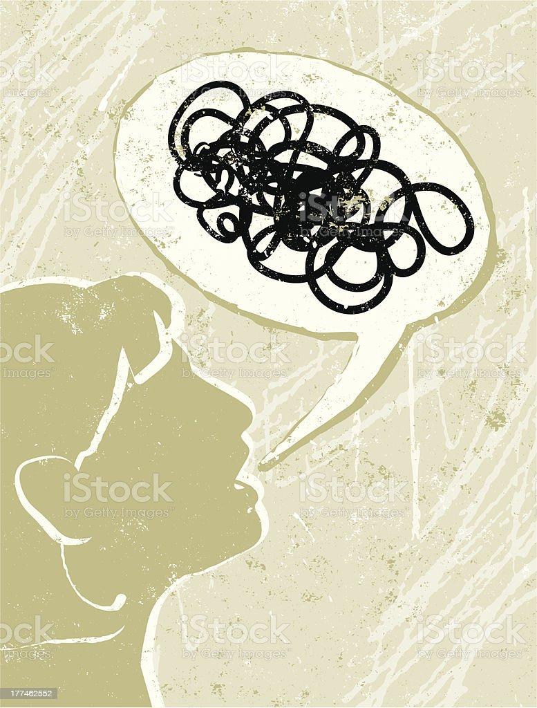 Profile of a Business Woman Talking Nonsense Speech Bubble vector art illustration
