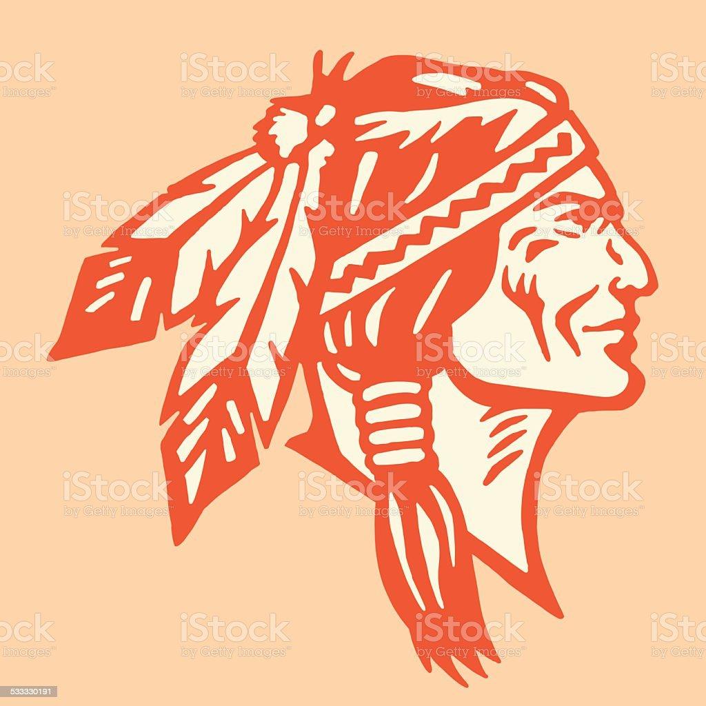 Profile of a Native American Man vector art illustration