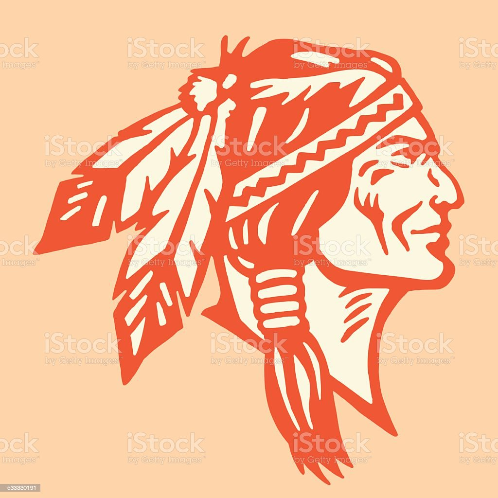Profile of a Native American Man vector art illustration