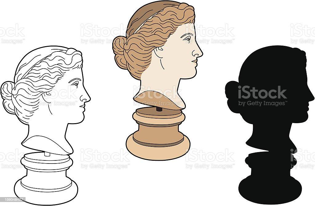 Profile of ancient statue vector art illustration