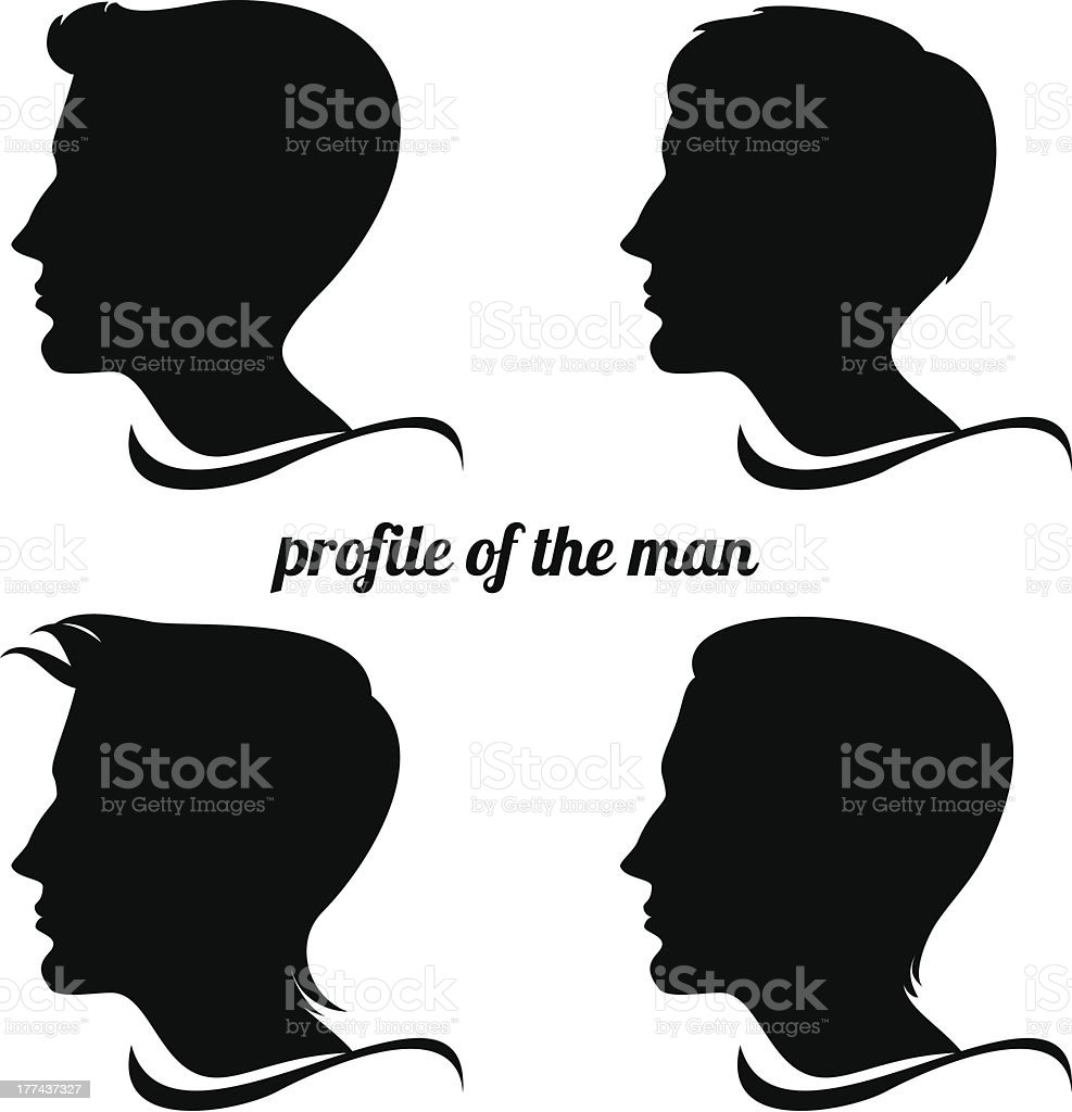 profile of the man vector art illustration