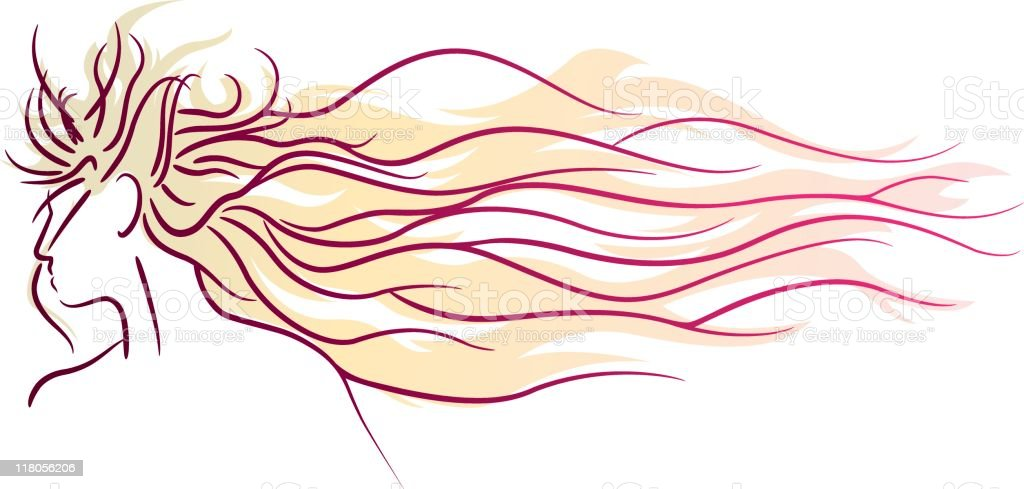 Profile of woman with long hair royalty-free stock vector art